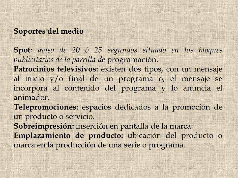 Soportes del medio Spot : aviso de 20 ó 25 segundos situado en los bloques publicitarios de la parrilla de programación. Patrocinios televisivos: exis