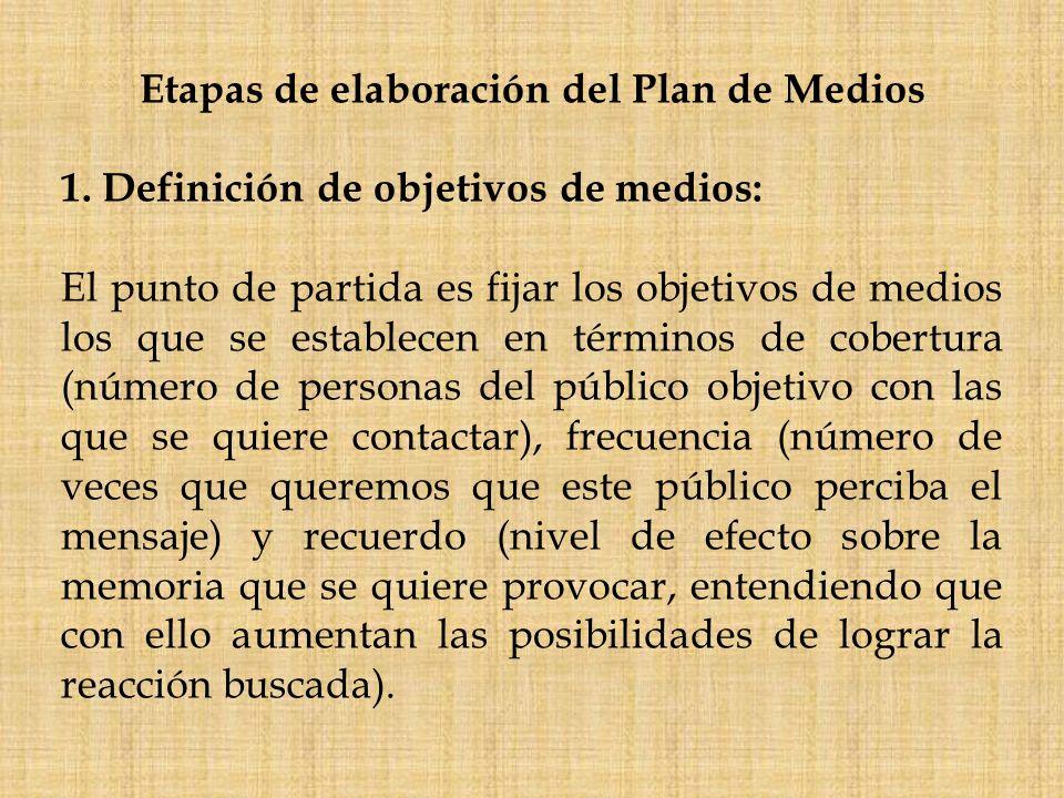 Etapas de elaboración del Plan de Medios 1. Definición de objetivos de medios: El punto de partida es fijar los objetivos de medios los que se estable