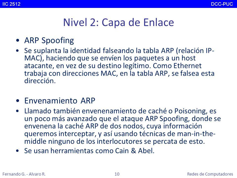Nivel 2: Capa de Enlace ARP Spoofing Se suplanta la identidad falseando la tabla ARP (relación IP- MAC), haciendo que se envíen los paquetes a un host