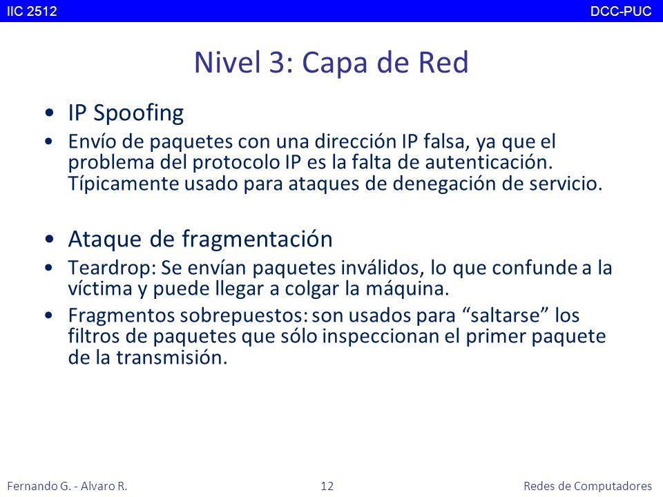 Nivel 3: Capa de Red IP Spoofing Envío de paquetes con una dirección IP falsa, ya que el problema del protocolo IP es la falta de autenticación. Típic
