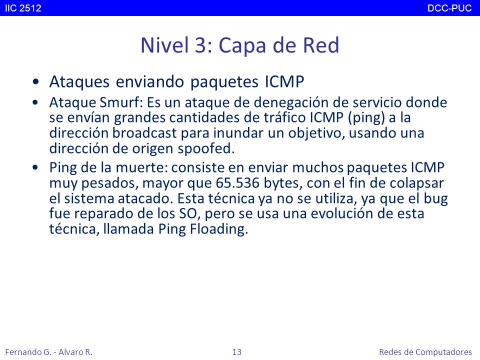 Nivel 3: Capa de Red Ataques enviando paquetes ICMP Ataque Smurf: Es un ataque de denegación de servicio donde se envían grandes cantidades de tráfico