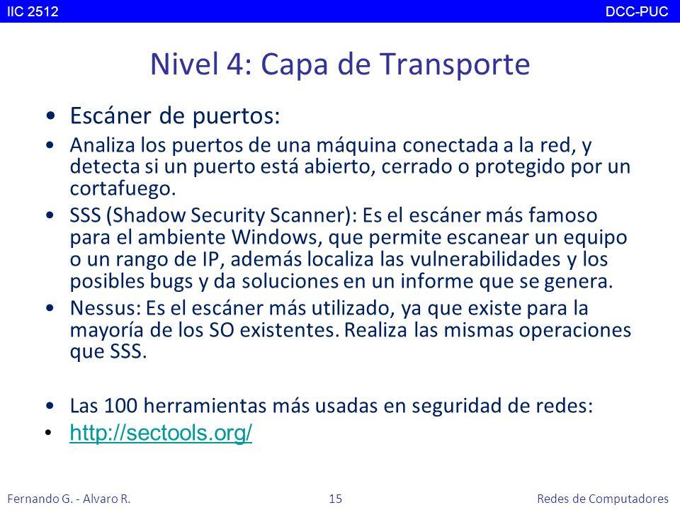 Nivel 4: Capa de Transporte Escáner de puertos: Analiza los puertos de una máquina conectada a la red, y detecta si un puerto está abierto, cerrado o
