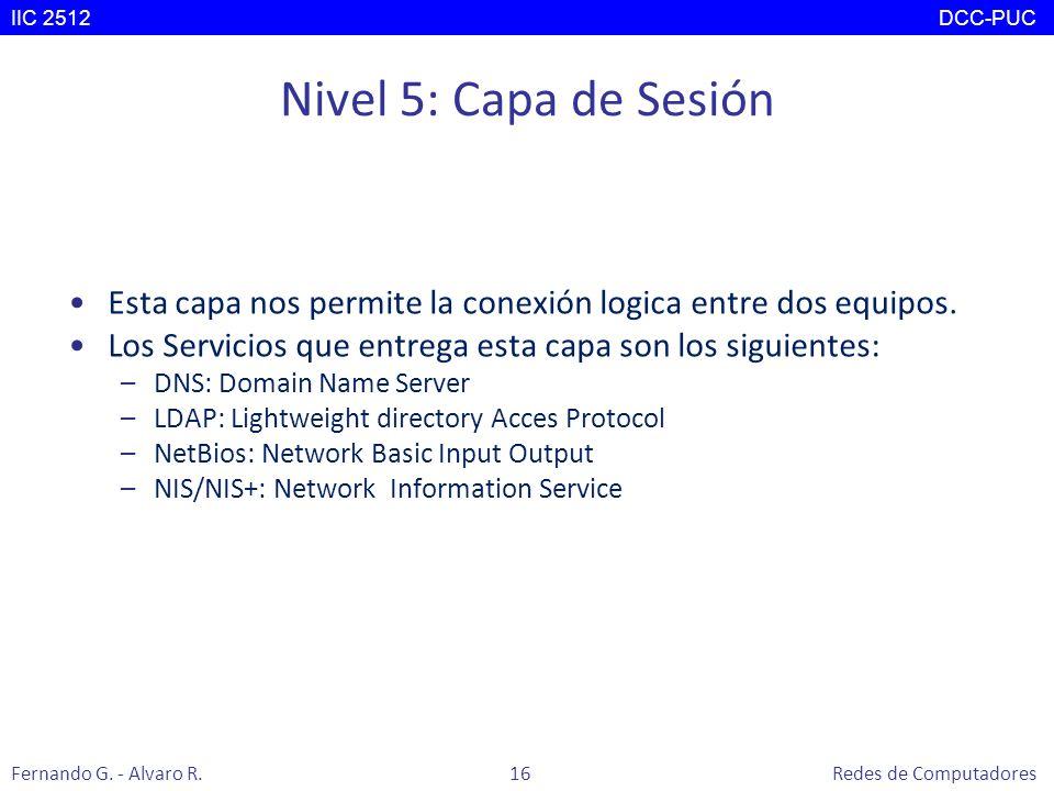Nivel 5: Capa de Sesión Esta capa nos permite la conexión logica entre dos equipos. Los Servicios que entrega esta capa son los siguientes: –DNS: Doma
