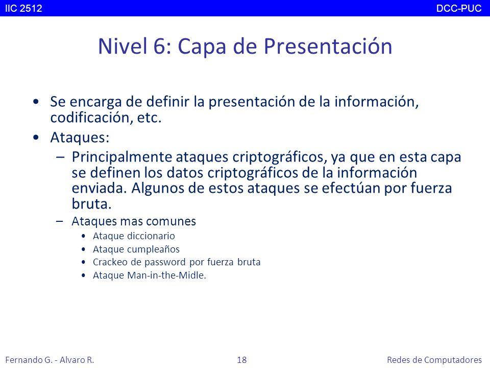 Nivel 6: Capa de Presentación Se encarga de definir la presentación de la información, codificación, etc. Ataques: –Principalmente ataques criptográfi