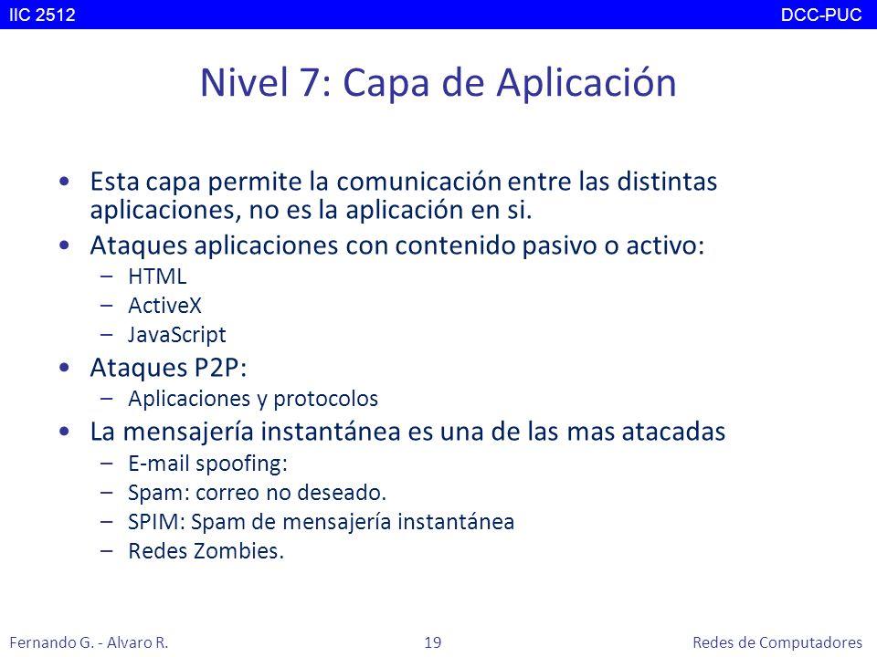 Nivel 7: Capa de Aplicación Esta capa permite la comunicación entre las distintas aplicaciones, no es la aplicación en si. Ataques aplicaciones con co
