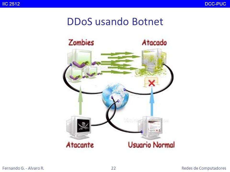 DDoS usando Botnet IIC 2512 DCC-PUC Fernando G. - Alvaro R. 22 Redes de Computadores