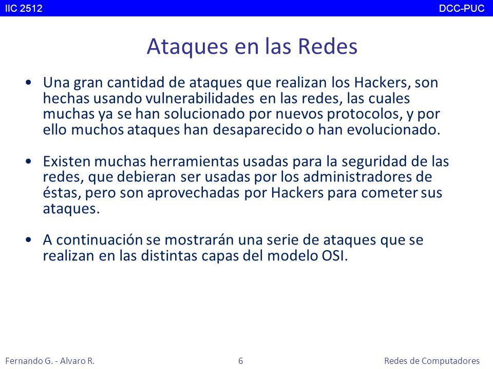 Nivel 5: Capa de Sesión Principales ataques: –DNS Spoofing: Se interviene el caché del Servidor DNS con el fin de agregar registros falsos y que así se produzcan respuestas falsas a las peticiones de los clientes.