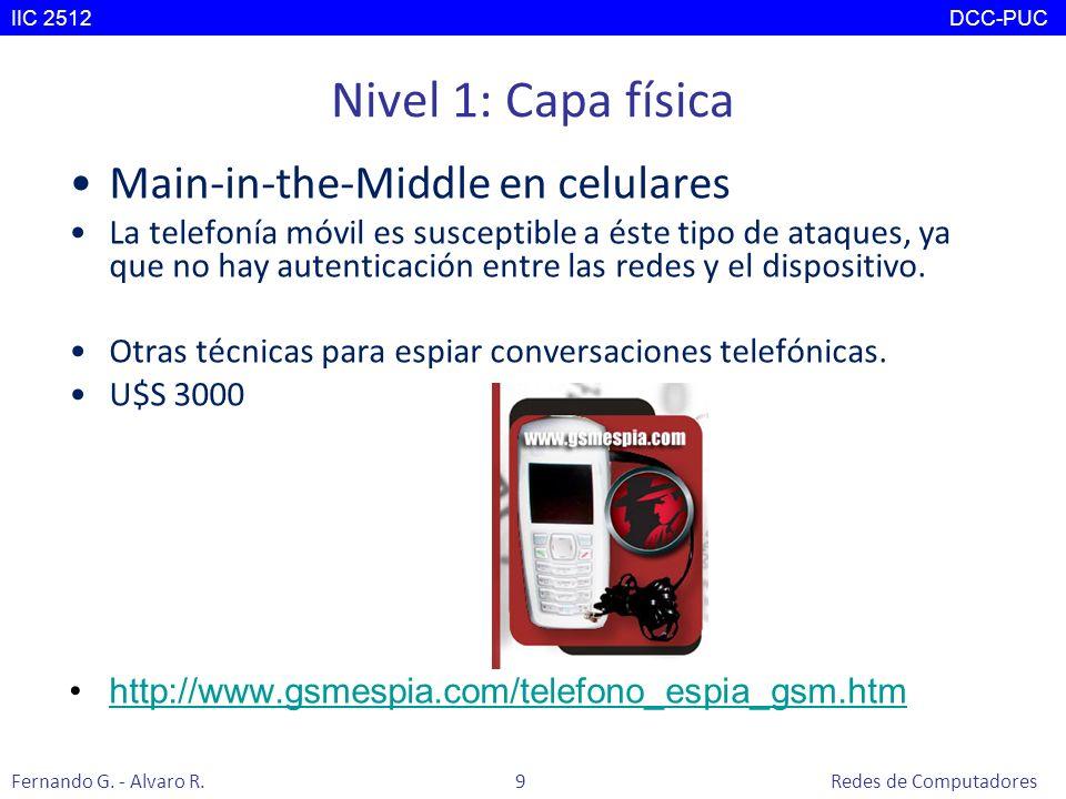 Nivel 1: Capa física Main-in-the-Middle en celulares La telefonía móvil es susceptible a éste tipo de ataques, ya que no hay autenticación entre las r