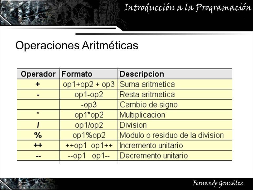 Operaciones Aritméticas