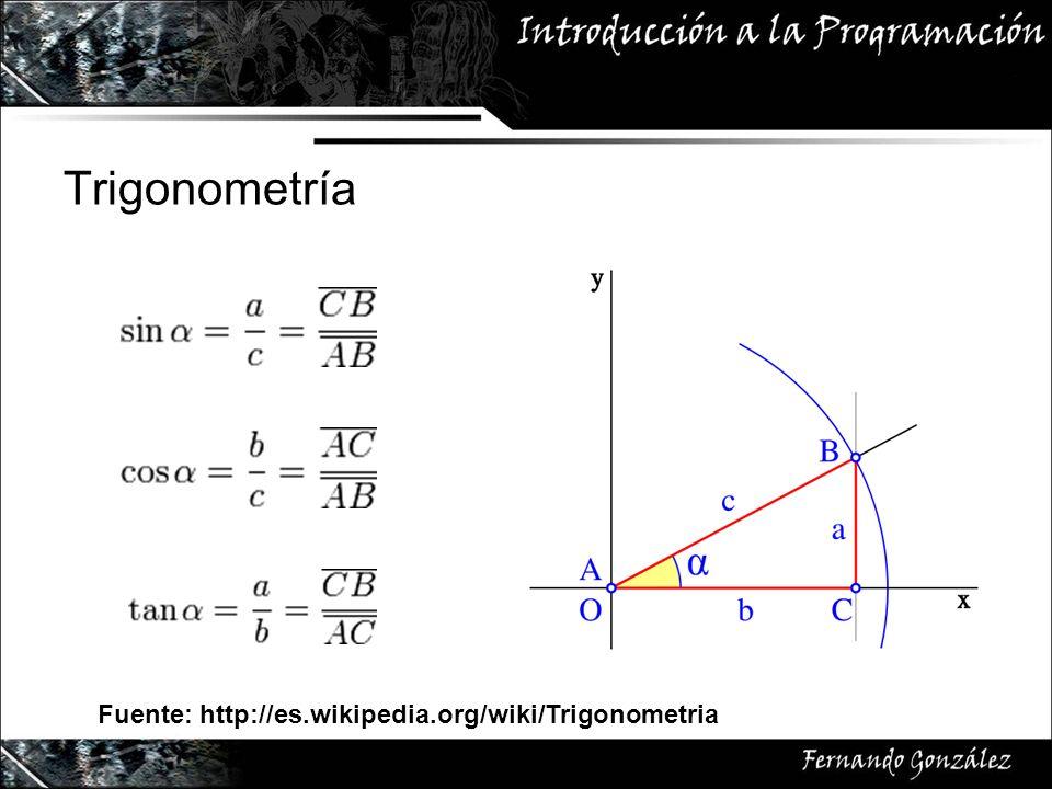 Trigonometría Fuente: http://es.wikipedia.org/wiki/Trigonometria