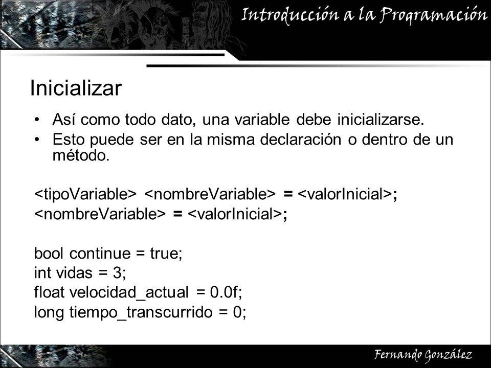 Inicializar Así como todo dato, una variable debe inicializarse.