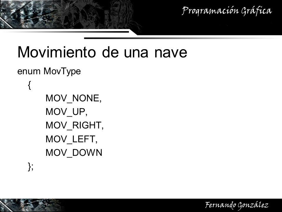 Movimiento de una nave enum MovType { MOV_NONE, MOV_UP, MOV_RIGHT, MOV_LEFT, MOV_DOWN };