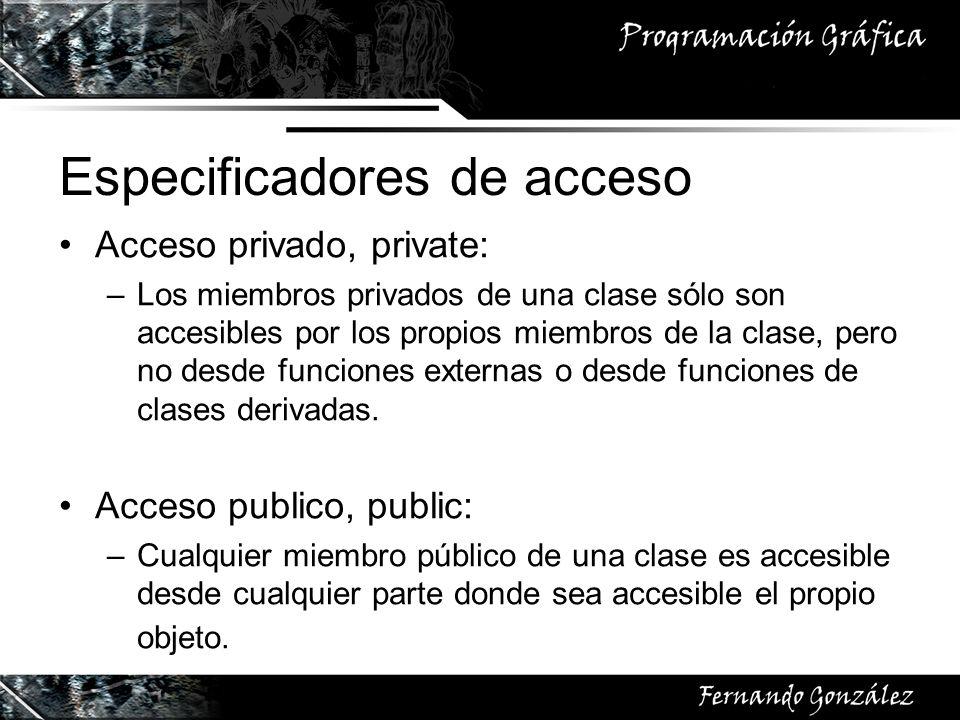 Especificadores de acceso Acceso privado, private: –Los miembros privados de una clase sólo son accesibles por los propios miembros de la clase, pero