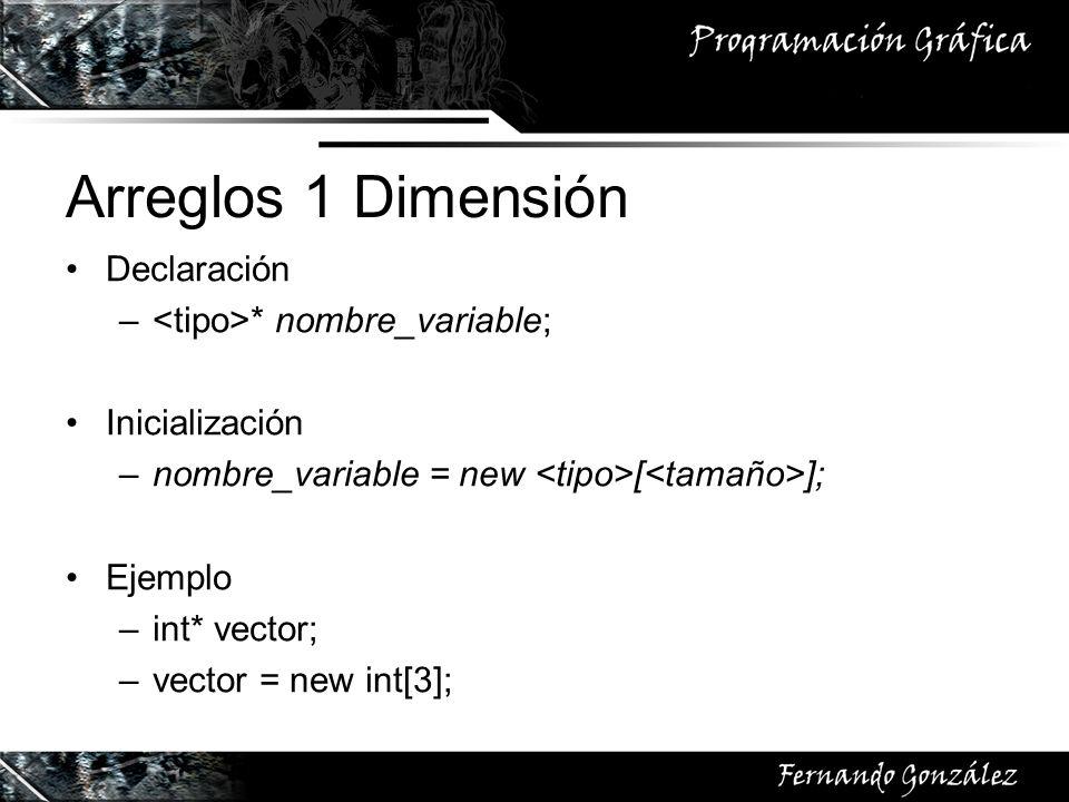 Arreglos 1 Dimensión Declaración – * nombre_variable; Inicialización –nombre_variable = new [ ]; Ejemplo –int* vector; –vector = new int[3];