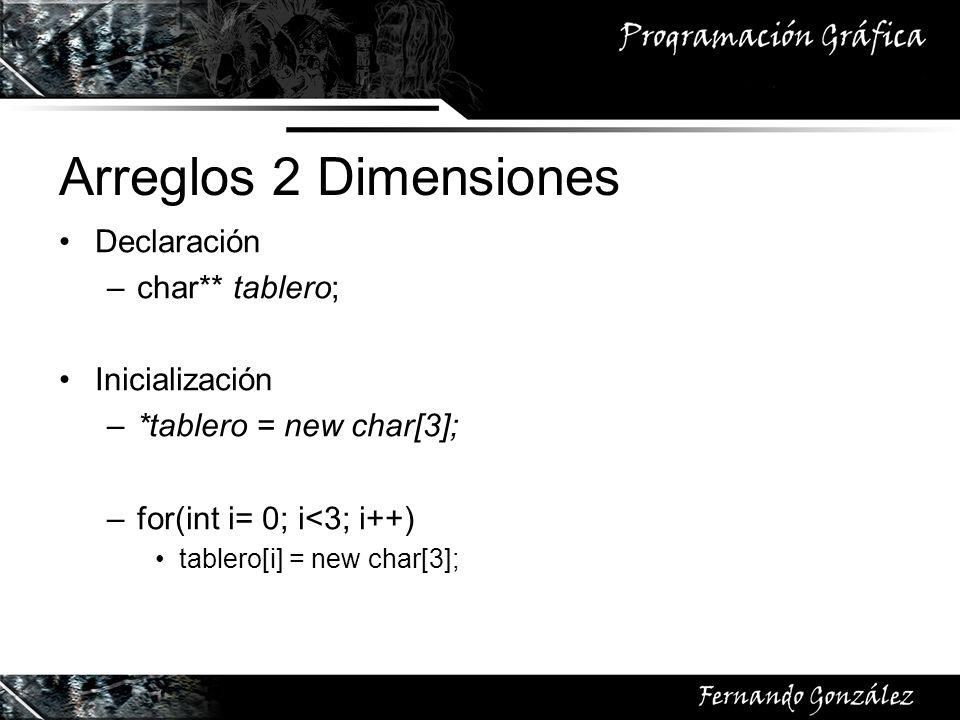 Arreglos 2 Dimensiones Declaración –char** tablero; Inicialización –*tablero = new char[3]; –for(int i= 0; i<3; i++) tablero[i] = new char[3];