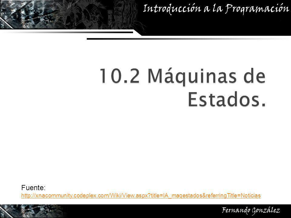 Fuente: http://xnacommunity.codeplex.com/Wiki/View.aspx title=IA_maqestados&referringTitle=Noticias