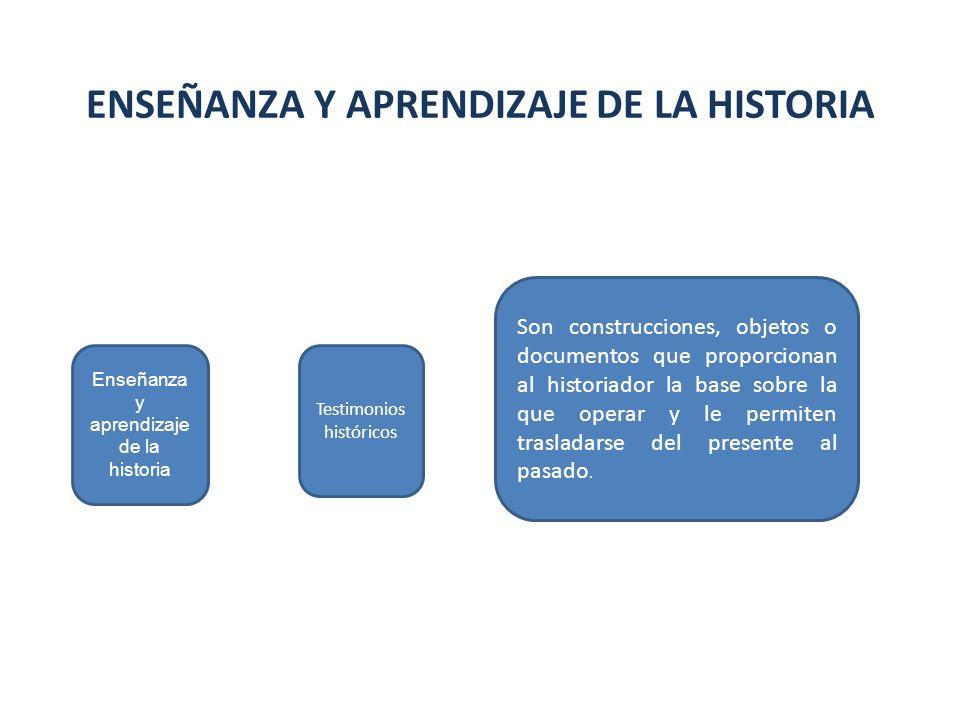 Enseñanza y aprendizaje de la historia ENSEÑANZA Y APRENDIZAJE DE LA HISTORIA Testimonios históricos Son construcciones, objetos o documentos que prop