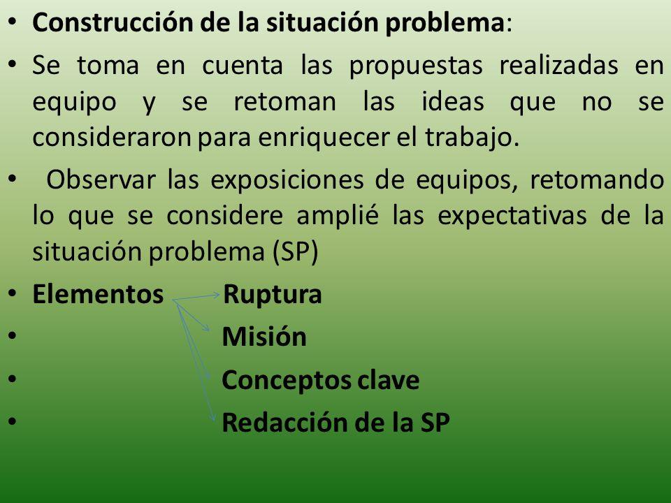 Construcción de la situación problema: Se toma en cuenta las propuestas realizadas en equipo y se retoman las ideas que no se consideraron para enriquecer el trabajo.
