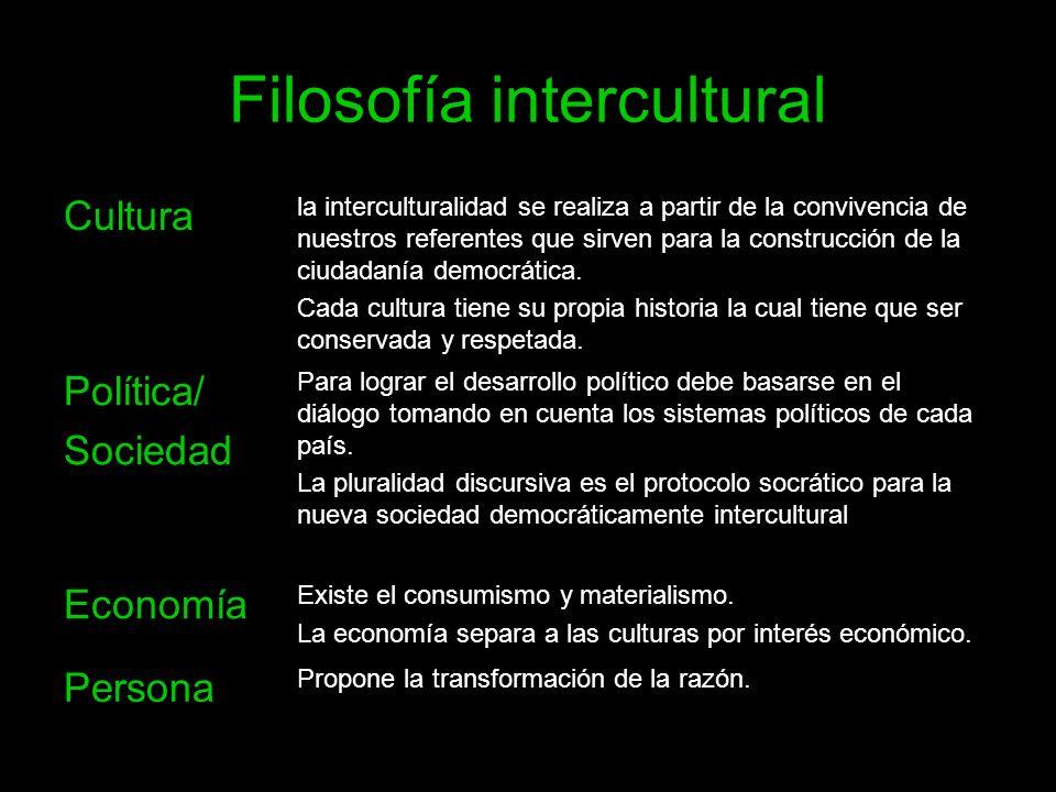 Filosofía intercultural Cultura la interculturalidad se realiza a partir de la convivencia de nuestros referentes que sirven para la construcción de l
