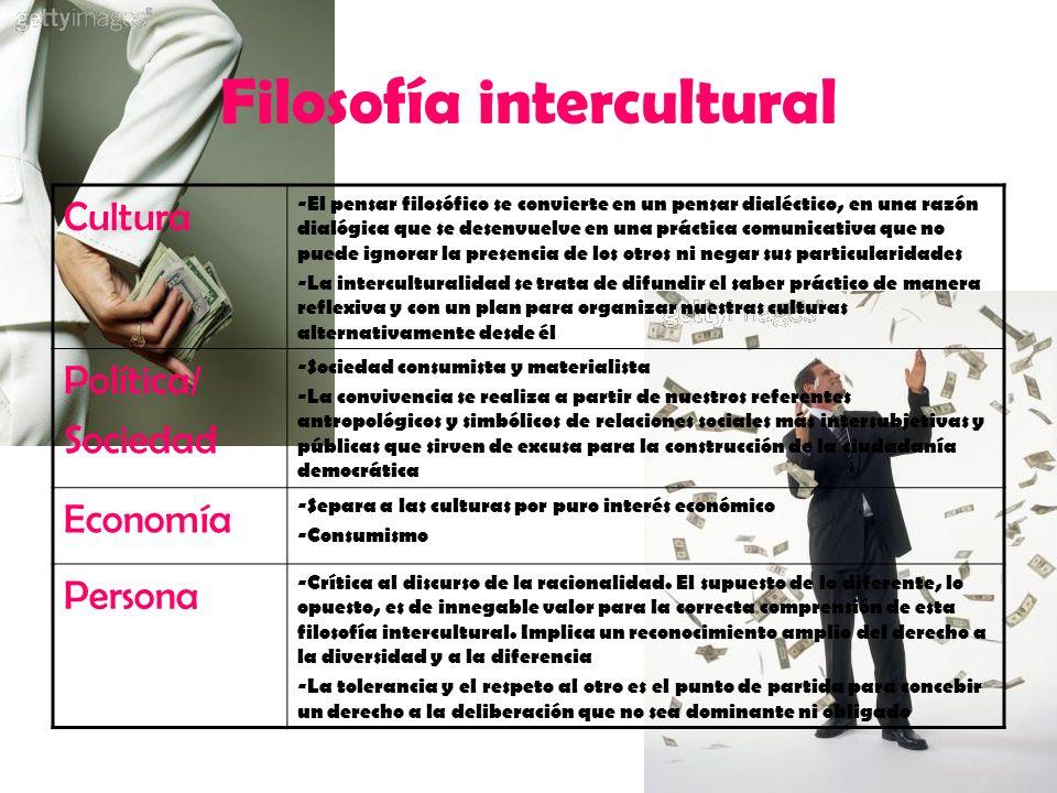 Filosofía intercultural Cultura -El pensar filosófico se convierte en un pensar dialéctico, en una razón dialógica que se desenvuelve en una práctica
