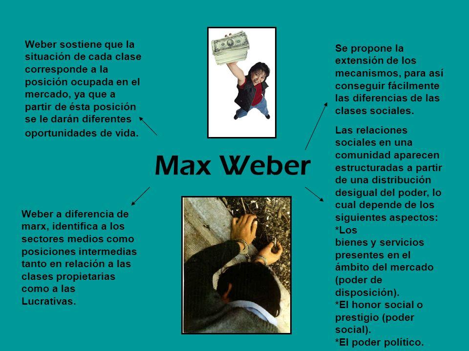Max Weber Se propone la extensión de los mecanismos, para así conseguir fácilmente las diferencias de las clases sociales. Las relaciones sociales en