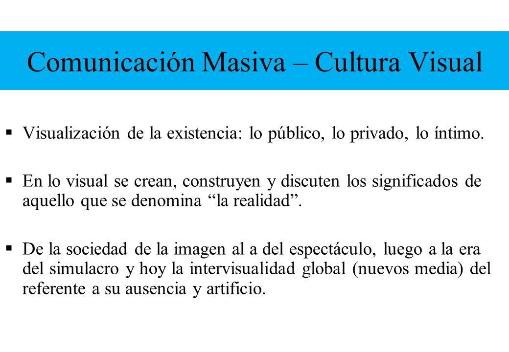 Comunicación Masiva – Cultura Visual Visualización de la existencia: lo público, lo privado, lo íntimo. En lo visual se crean, construyen y discuten l