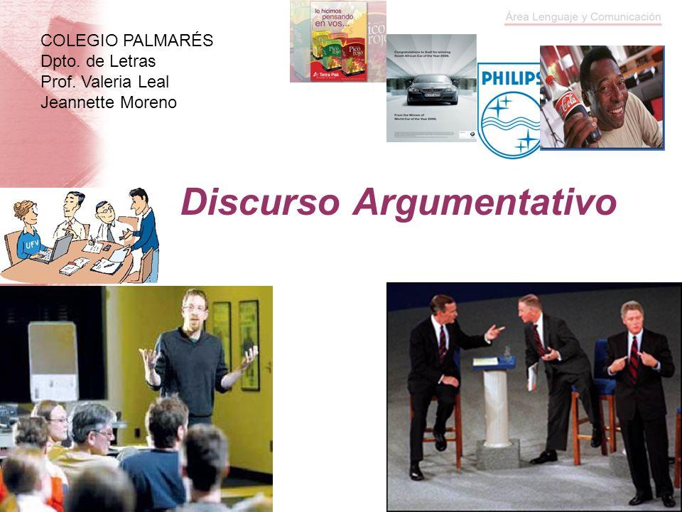 Discurso Argumentativo COLEGIO PALMARÉS Dpto. de Letras Prof. Valeria Leal Jeannette Moreno