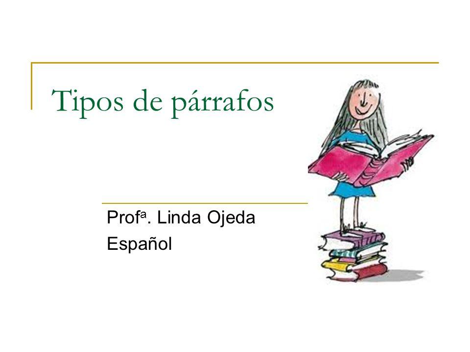 Tipos de párrafos Prof a. Linda Ojeda Español
