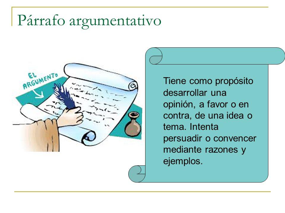 Párrafo argumentativo Tiene como propósito desarrollar una opinión, a favor o en contra, de una idea o tema. Intenta persuadir o convencer mediante ra