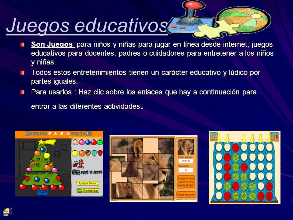 Juegos educativos Son Juegos para niños y niñas para jugar en línea desde internet; juegos educativos para docentes, padres o cuidadores para entreten
