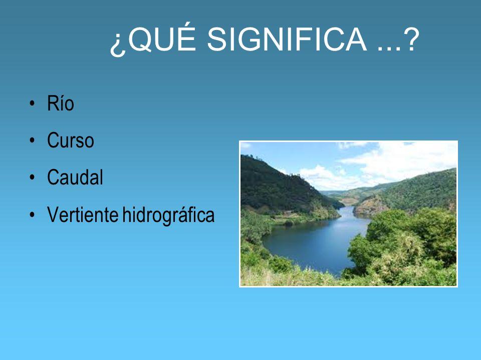 ¿QUÉ SIGNIFICA...? Río Curso Caudal Vertiente hidrográfica