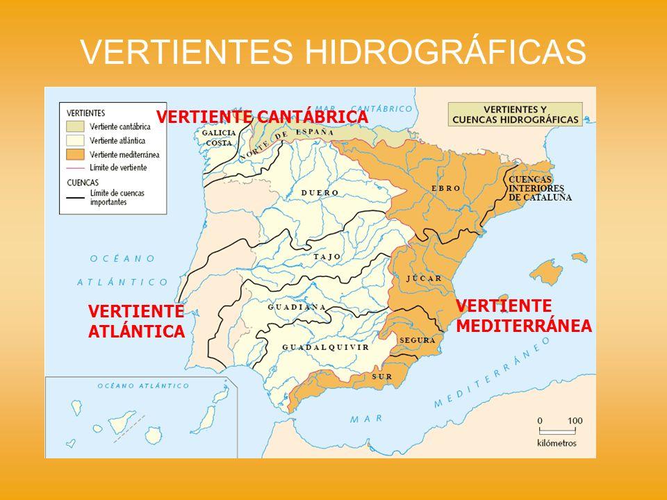VERTIENTES HIDROGRÁFICAS VERTIENTE CANTÁBRICA Los ríos más importantes son : - Navia - Nalón - Nerbión - Bidasoa Los ríos son cortos debido a su nacimiento en la Cordillera Cantábrica.