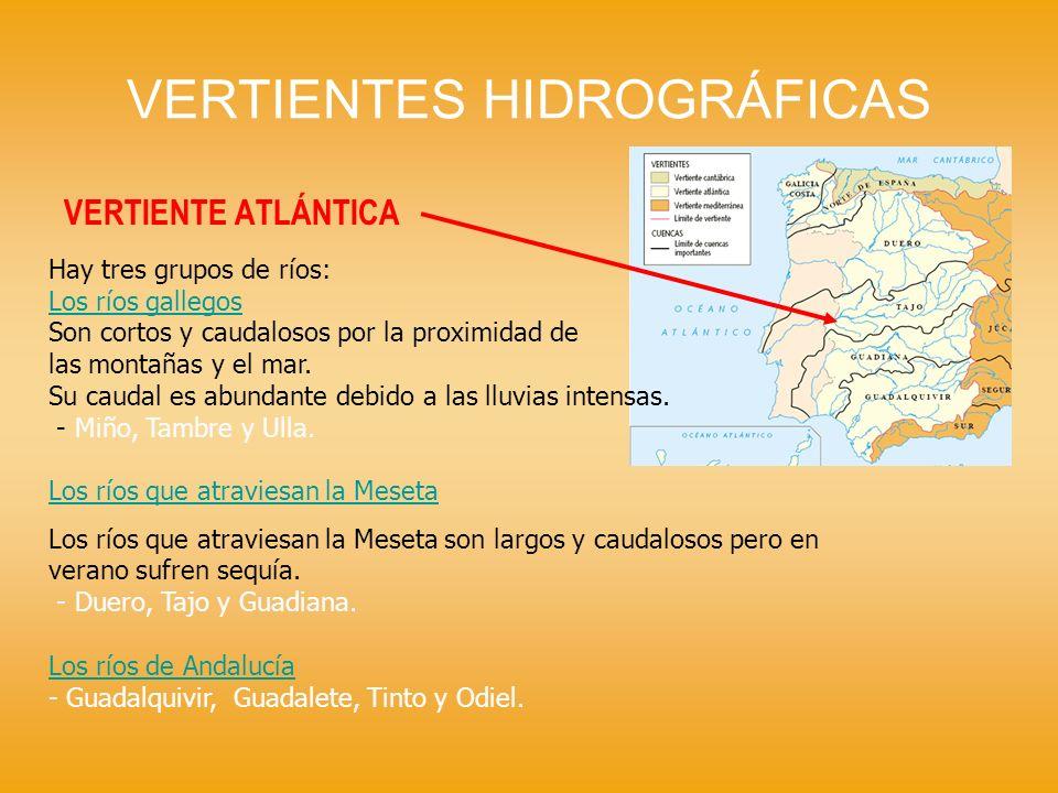VERTIENTES HIDROGRÁFICAS VERTIENTE ATLÁNTICA Hay tres grupos de ríos: Los ríos gallegos Son cortos y caudalosos por la proximidad de las montañas y el
