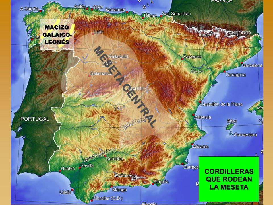 MESETA CENTRAL CORDILLERAS QUE RODEAN LA MESETA MACIZO GALAICO- LEONÉS