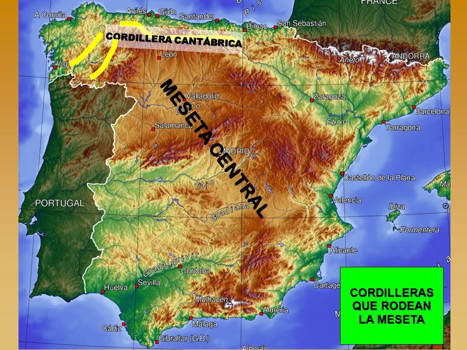 MESETA CENTRAL CORDILLERAS QUE RODEAN LA MESETA CORDILLERA CANTÁBRICA