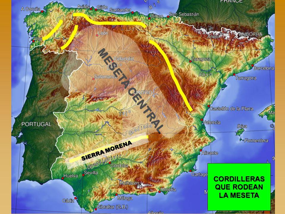 MESETA CENTRAL CORDILLERAS QUE RODEAN LA MESETA SIERRA MORENA