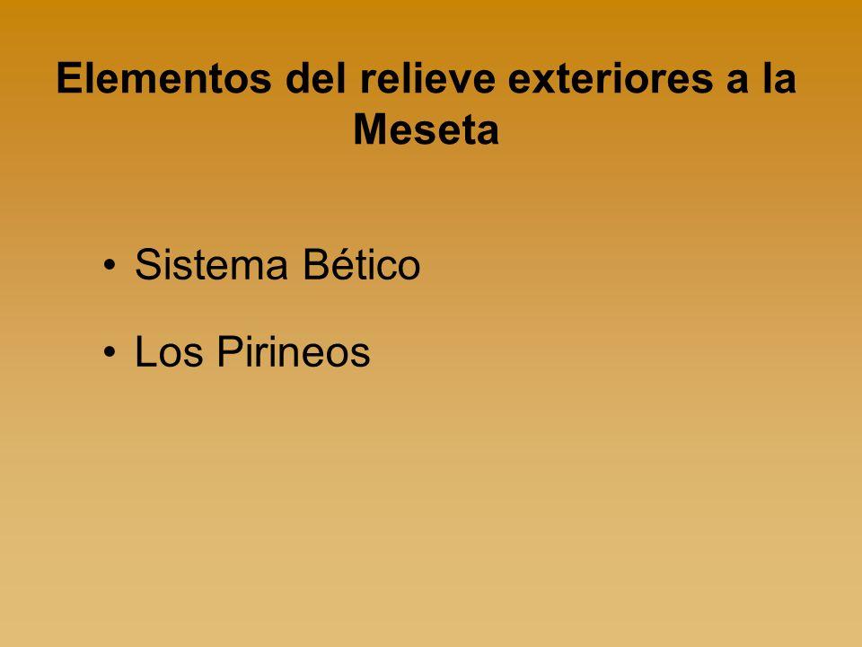 Elementos del relieve exteriores a la Meseta Sistema Bético Los Pirineos