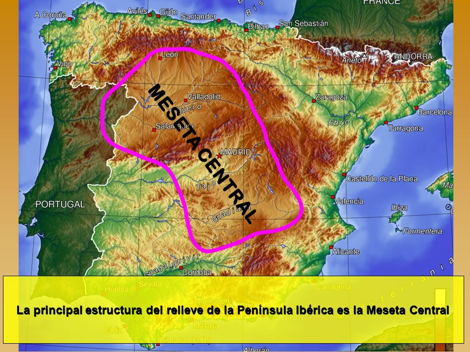 MESETA CENTRAL La principal estructura del relieve de la Península Ibérica es la Meseta Central