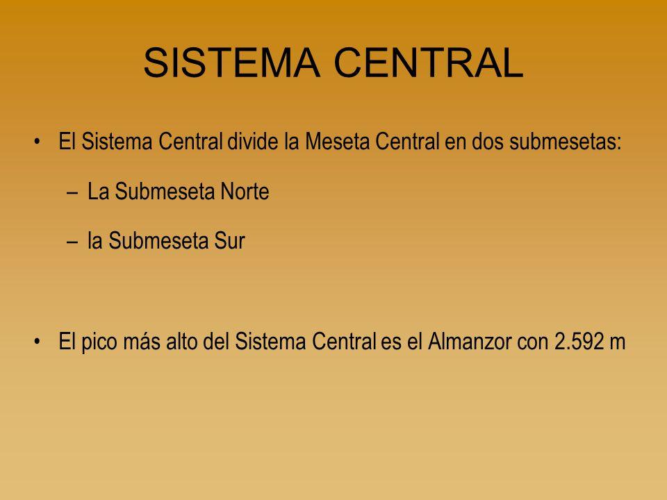 SISTEMA CENTRAL El Sistema Central divide la Meseta Central en dos submesetas: –La Submeseta Norte –la Submeseta Sur El pico más alto del Sistema Cent