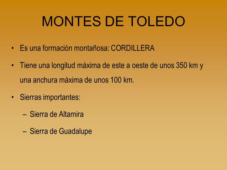 MONTES DE TOLEDO Es una formación montañosa: CORDILLERA Tiene una longitud máxima de este a oeste de unos 350 km y una anchura máxima de unos 100 km.