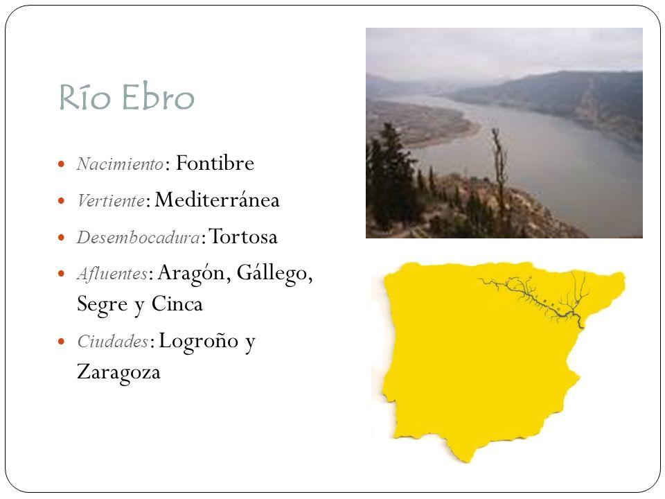 Río Ebro Nacimiento : Fontibre Vertiente : Mediterránea Desembocadura : Tortosa Afluentes : Aragón, Gállego, Segre y Cinca Ciudades : Logroño y Zarago