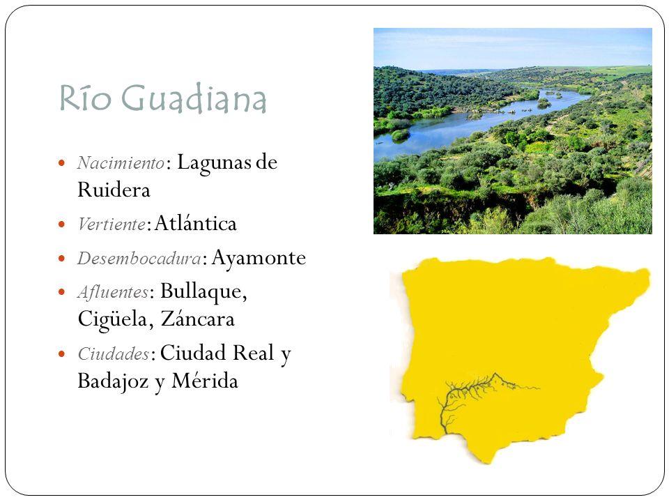 Río Guadiana Nacimiento : Lagunas de Ruidera Vertiente : Atlántica Desembocadura : Ayamonte Afluentes : Bullaque, Cigüela, Záncara Ciudades : Ciudad R