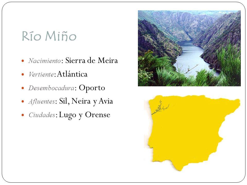 Río Miño Nacimiento : Sierra de Meira Vertiente : Atlántica Desembocadura : Oporto Afluentes : Sil, Neira y Avia Ciudades : Lugo y Orense