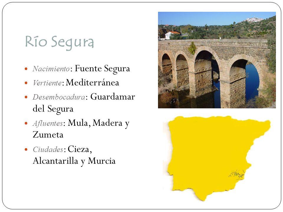 Río Segura Nacimiento : Fuente Segura Vertiente : Mediterránea Desembocadura : Guardamar del Segura Afluentes : Mula, Madera y Zumeta Ciudades : Cieza