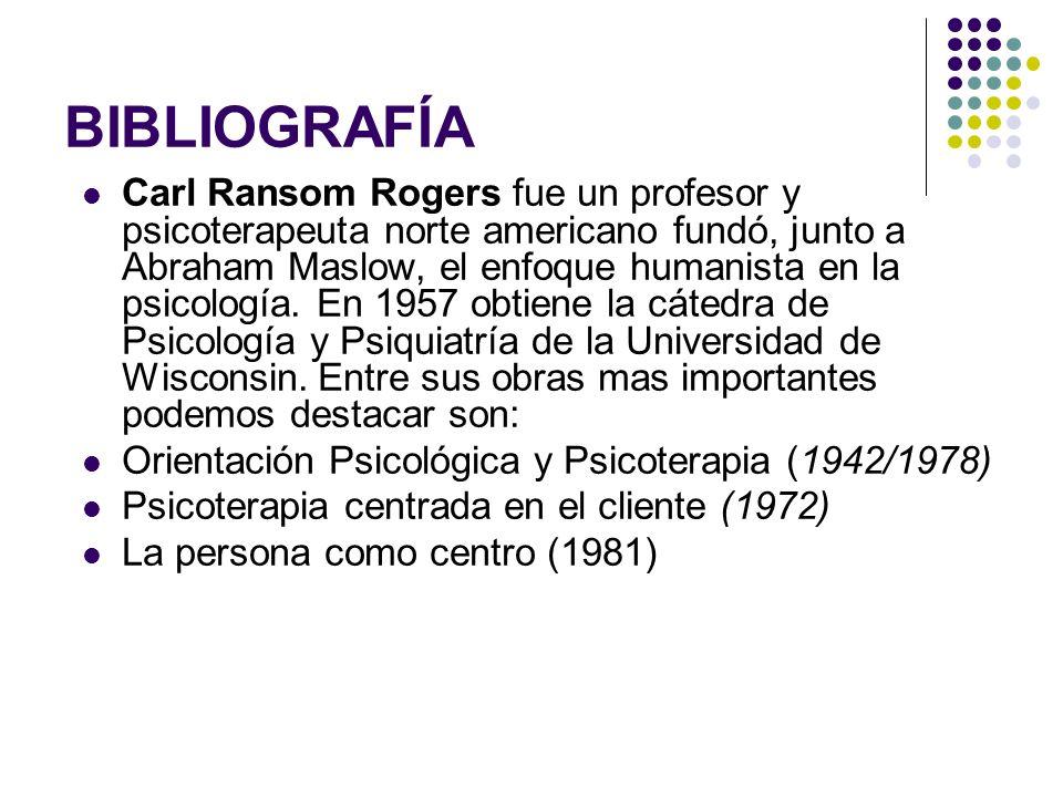 BIBLIOGRAFÍA Carl Ransom Rogers fue un profesor y psicoterapeuta norte americano fundó, junto a Abraham Maslow, el enfoque humanista en la psicología.