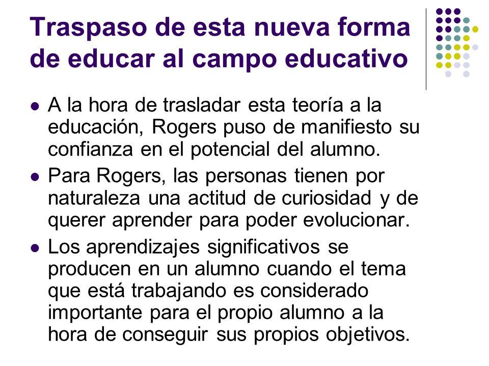 Traspaso de esta nueva forma de educar al campo educativo A la hora de trasladar esta teoría a la educación, Rogers puso de manifiesto su confianza en