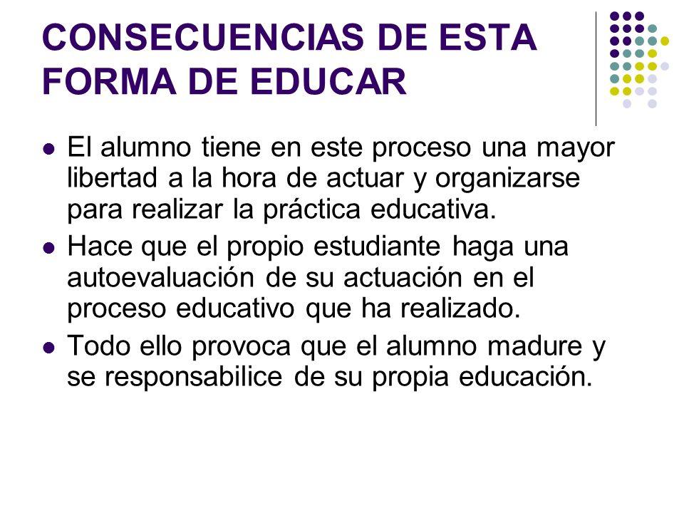CONSECUENCIAS DE ESTA FORMA DE EDUCAR El alumno tiene en este proceso una mayor libertad a la hora de actuar y organizarse para realizar la práctica e