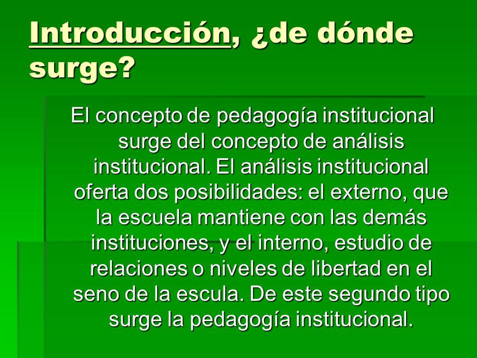 Introducción, ¿de dónde surge? El concepto de pedagogía institucional surge del concepto de análisis institucional. El análisis institucional oferta d