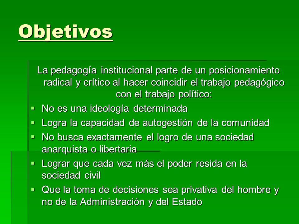 Objetivos La pedagogía institucional parte de un posicionamiento radical y crítico al hacer coincidir el trabajo pedagógico con el trabajo político: N