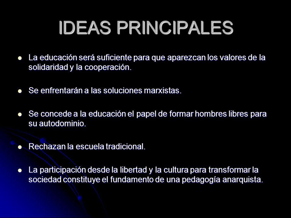 IDEAS PRINCIPALES La educación será suficiente para que aparezcan los valores de la solidaridad y la cooperación. La educación será suficiente para qu